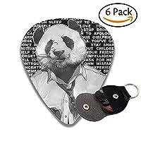 パンダさん ピック ギターピック 6枚セット それぞれ厚さ カラフル 多種多色 PUレザー ピックケース付き Thin 0.46mm\Medium 0.71mm\Heavy 0.96mm