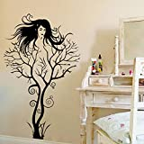 PeiPeiTrade Branch Girl Living Room Bedroom Background Creative Wall Stickers ウォールステッカー 防水 除去でき 壁飾り 壁紙 ベッドルーム リビングルームの背景