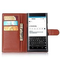AIYOPEEN BlackBerry Priv 専用ケース 手帳型 カバー カード収納 ケース (茶色)