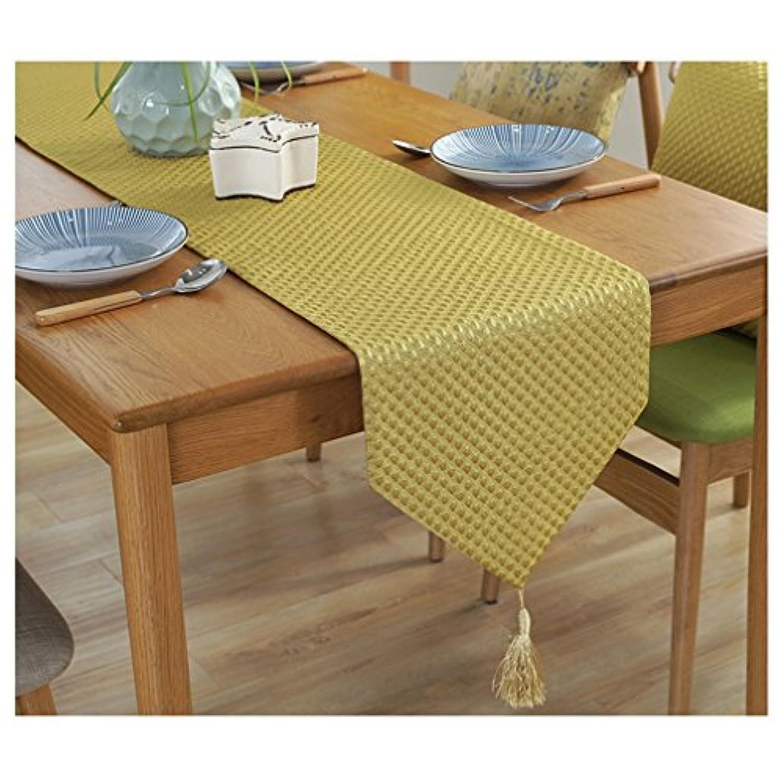 [Ziv-Nat] テーブルランナー イエロー 黄色 3D水玉 ゴールド 金色 32×220cm 北欧 モダン 幾何模様 おしゃれ 洗える ジャカール アジアン 和風 ペンダント付き