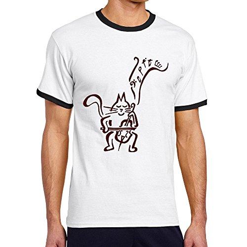 ヒカリ メンズ 半袖 猫 楽器 バイオリ ンコンサート オリジナル ティー Tシャツ XXL