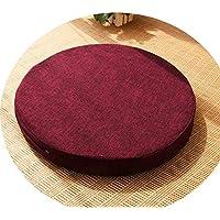クッション丸い畳綿のリネンアート布団和式洗濯クッション瞑想ヨガマット,ワインレッド,直径50cm厚6cm