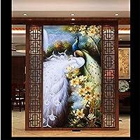 Wxmca カスタム3D壁紙油絵孔雀フィギュアマグノリアホワイトピーコックホーム廊下装飾壁紙壁画-200X140Cm