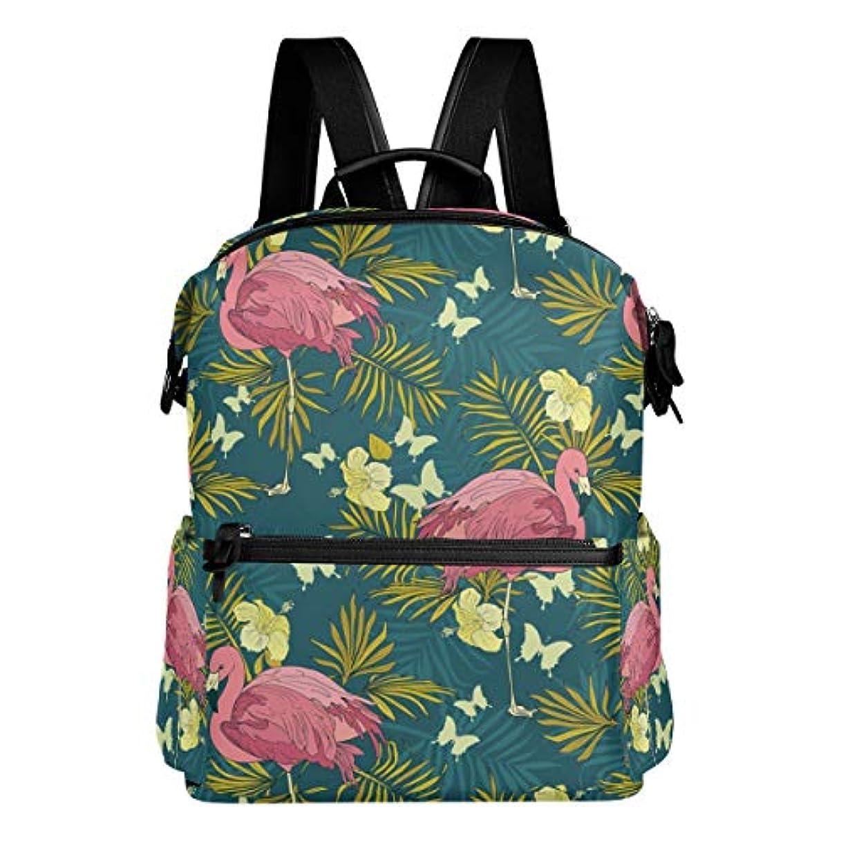 本会議一般戸惑うVAWA リュック レディース 大容量 おしゃれ フラミンゴ柄 蝶柄 葉柄 ハワイ風 リュックサック 軽量 防水 多機能 バッグ 通勤 通学 旅行用