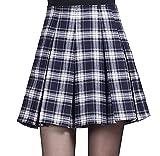 (コンテッツァ) contezza レディース チェック 柄 ボックス プリーツ Aライン ミニ スカート (L, 紺)