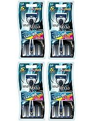 【まとめ買い】KAI RAZOR axia(カイ レザー アクシア) 5枚刃カミソリ コンボパック 5P×4個