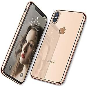 DTTO iPhone XS 専用ケース TPU ソフト 背面クリア+周りメッキ加工 超薄型 超軽量 ワイヤレス充電対応 水洗い可 傷つき防止 ゴールド