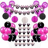 ミニー誕生日 ベビーシャワー 子供 ミッキーマウス バラ色 ブラック ホワイト カップケーキトッパー ケーキ周り バナー ハニカムボール 28個