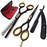 Brance BSS-01 Professional/Salon/Home/Pet | Hairdresser Shears Set Includes Thinning//Texturizing Scissors + Straight Razor a
