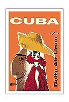 キューバ - デルタ航空 - キューバのダンサー - ダグラスDC-7 - ビンテージな航空会社のポスター によって作成された ウィリアム・G・スラッテリー c.1957 - アートポスター - 76cm x 112cm