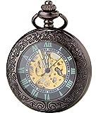 SEWORブラック自動機械拡大鏡夜光時計懐中時計古典的なC137