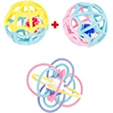 Baby Play Ball and Sensory Teether. Two Outer Plus 2 Inner Balls. Rattles and Rolls for Double The Fun. Ages 0 Month to 4 Yea