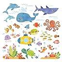 DECOWALL DS-8009 海の生き物 冒険を見る ウォール ステッカー デコ 幼稚園 保育園 子供部屋 (小)
