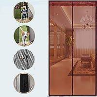 BMY ヘビーデューティメッシュカーテン付き磁気フライスクリーンドア、フルフレームマジックテープメッシュカーテンフロントドアと家の外の子供ペットブラウン90 x 240 cm(35 x 94インチ)