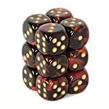 Chessex Gemini Opaque 16mm d6 Black-red with gold Dice Block
