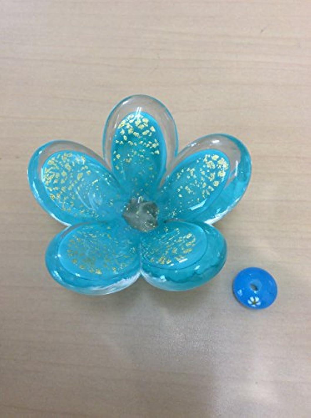 ずらすアラビア語記憶に残るガラスのお香立てセット 華香台(ブルー) 【HK-17】