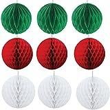 クリスマス飾り付け 30個 ハニカムボール クリスマスツリー オーナメント ハンギング 部屋飾り クリスマスパーティー装飾 お部屋の飾り SUNBEAUTY (赤白緑)