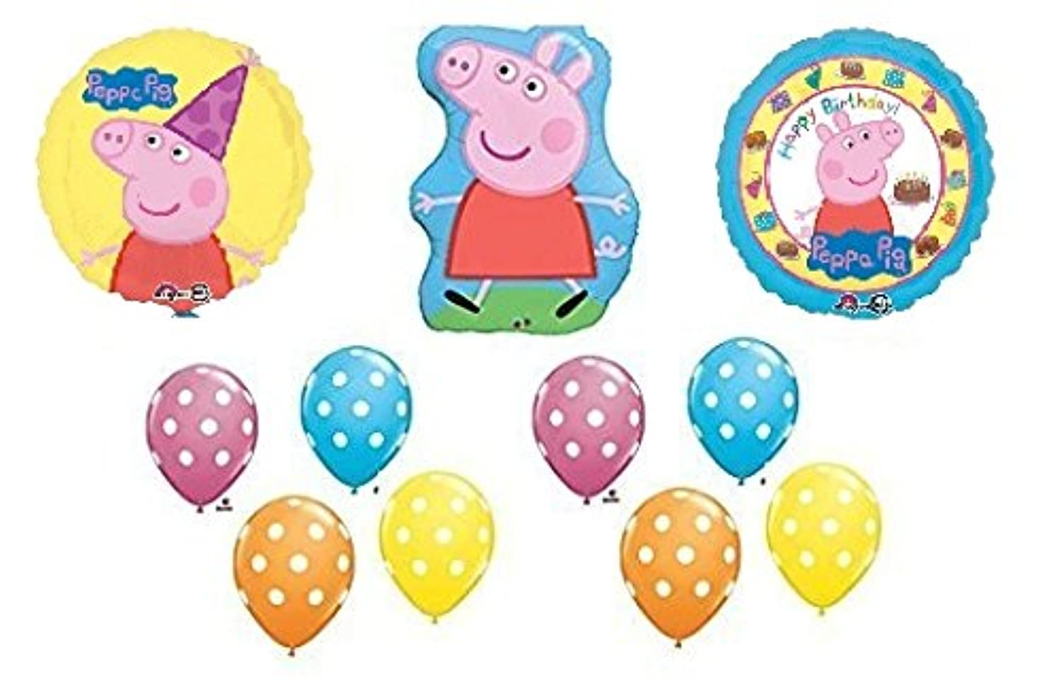 11pc。Peppa Pig Happy Birthdayバルーンセットブーケ
