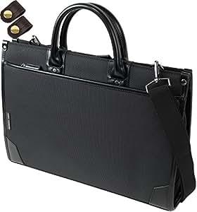 ビジネスバッグ 自立タイプ リクルートバッグ A4ファイル収納可能 + [タケハチ] 竹八謹製 [牛革製ケーブルバンド2個] セット tm0318