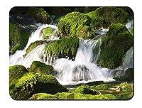 滝、石、苔 パターンカスタムの マウスパッド 旅行 風景 景色 (26cmx21cm)