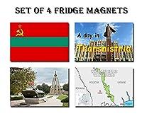 セットの4Transnistria冷蔵庫マグネット冷蔵庫マグネット–TransnistriaフラグTransnistriaマップTransnistria Attractions