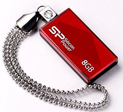 シリコンパワー USBメモリ 8GB USB2.0 スライド式 TOUCH 810 レッド SP008GBUF2810V1R