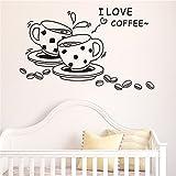 Chirstseason ウォールステッカー コーヒーカップ キッチン コーヒー 喫茶店 店舗用 ショーウインドウ ガラス 壁紙 シール ウォールシール