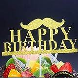 ケーキトッパー バースデー お誕生日 デコレーション 記念写真 写真撮影 (マスタッシュ)