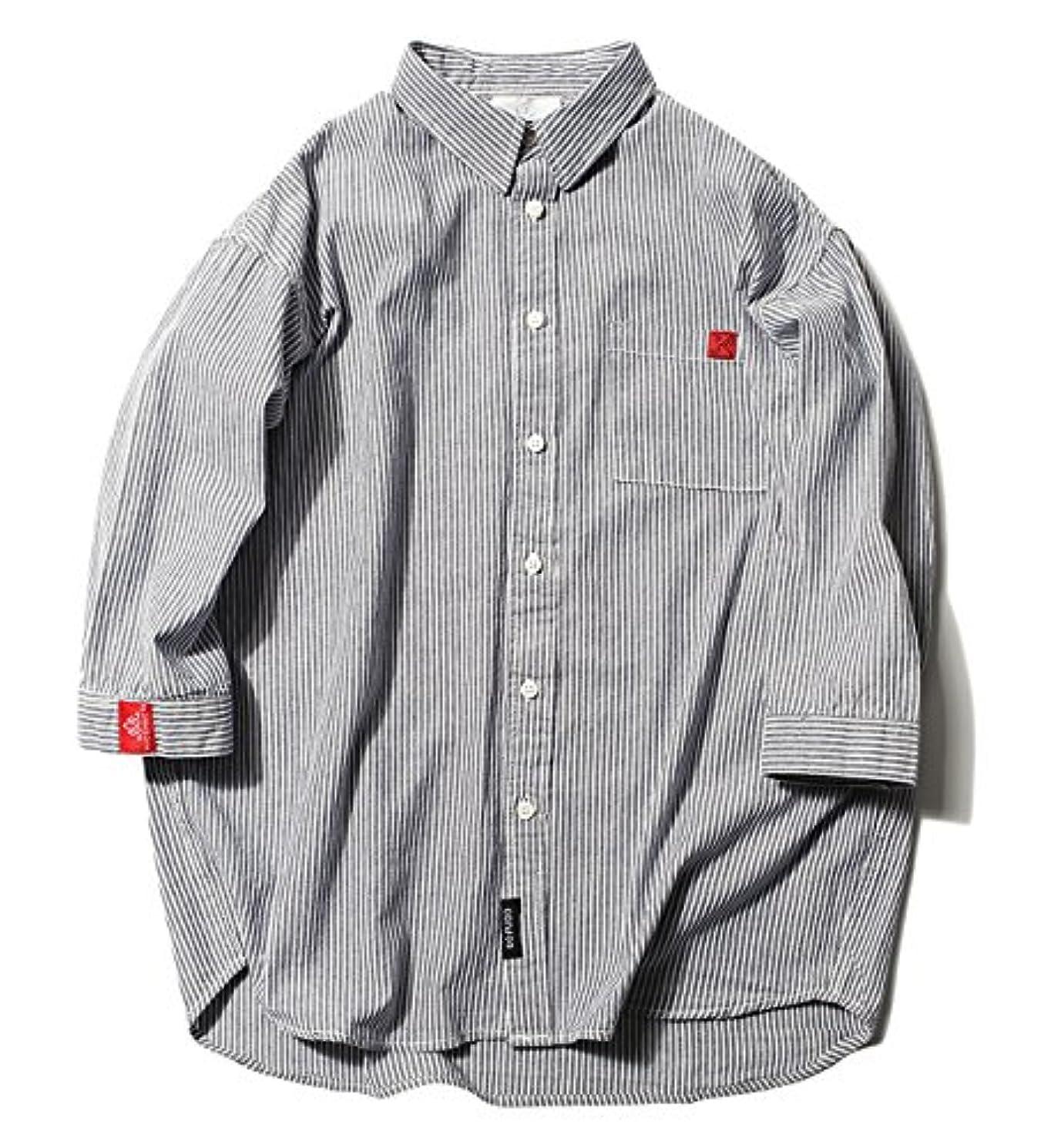 借りているストロークジョブ(ハバー) Habor カジュアルシャツ メンズ 七分袖 長袖 ボタンアップ シャツ トップス ストライプ 開襟シャツ 綿