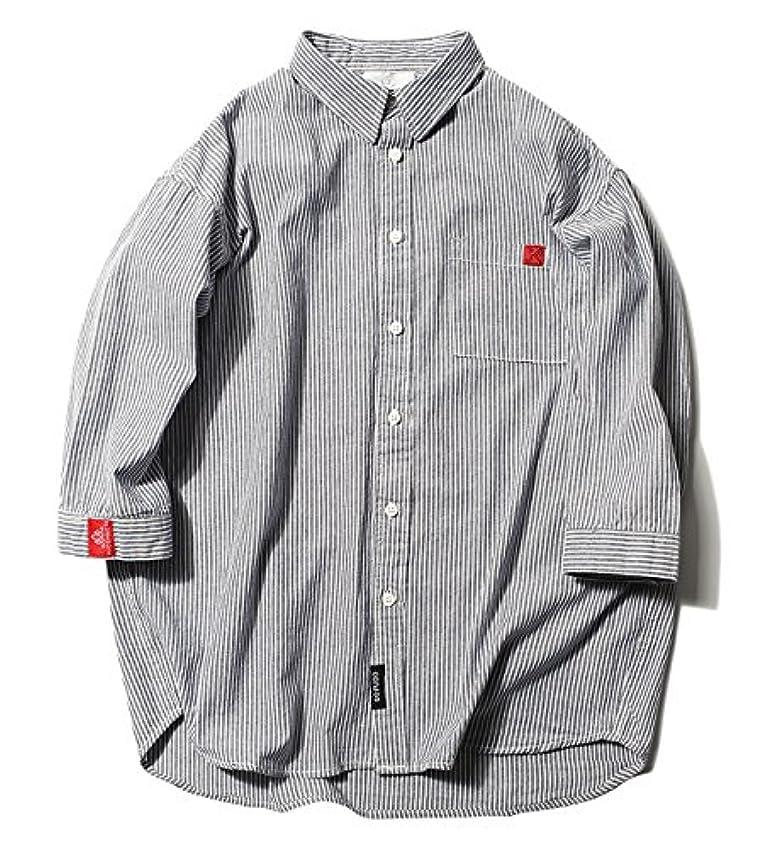 無実老人概要(ハバー) Habor カジュアルシャツ メンズ 七分袖 長袖 ボタンアップ シャツ トップス ストライプ 開襟シャツ 綿