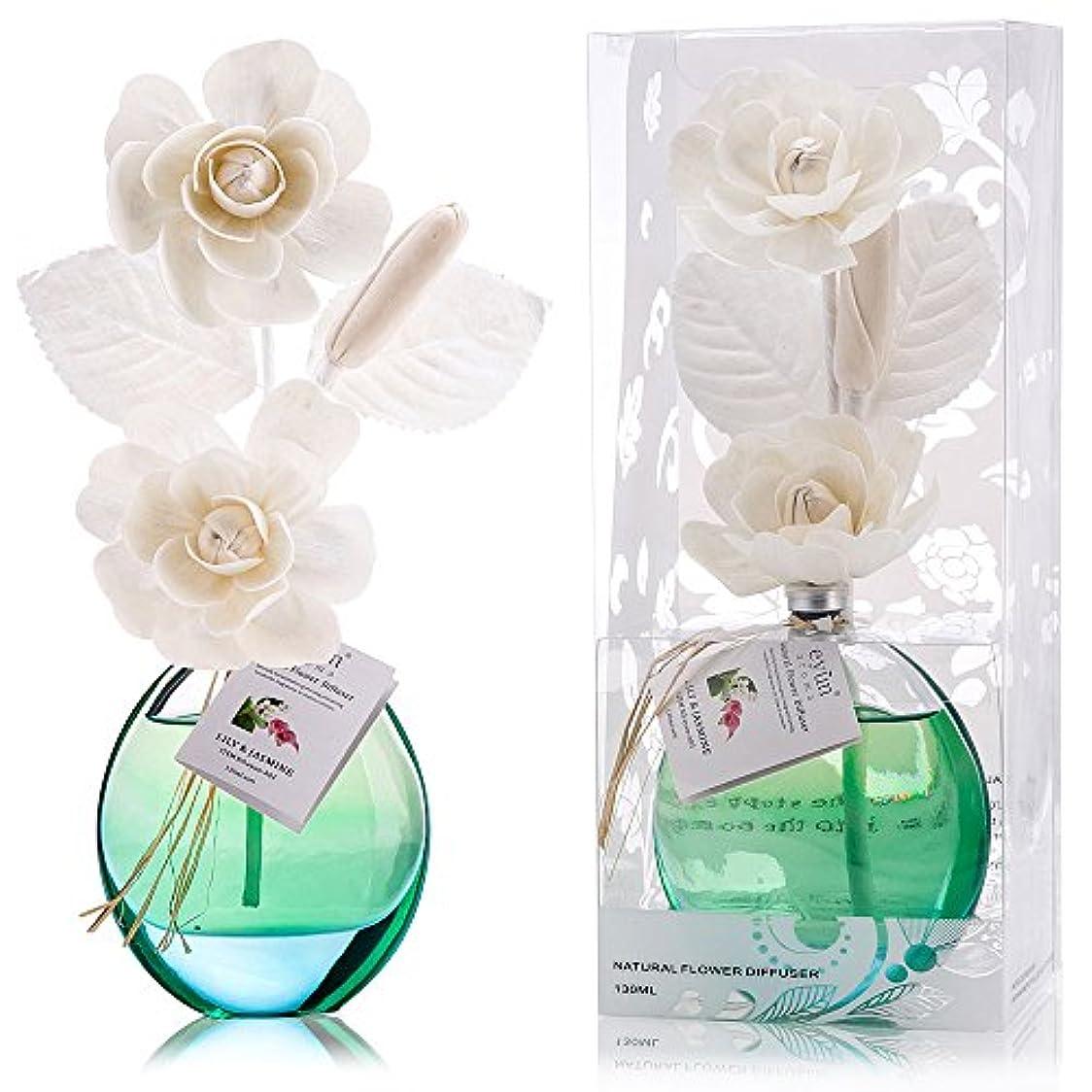 憲法慈悲グリース誕生日 プレゼント に A03 ルームフレグランス (花瓶:水色, 香り:ユリ & ジャスミン)