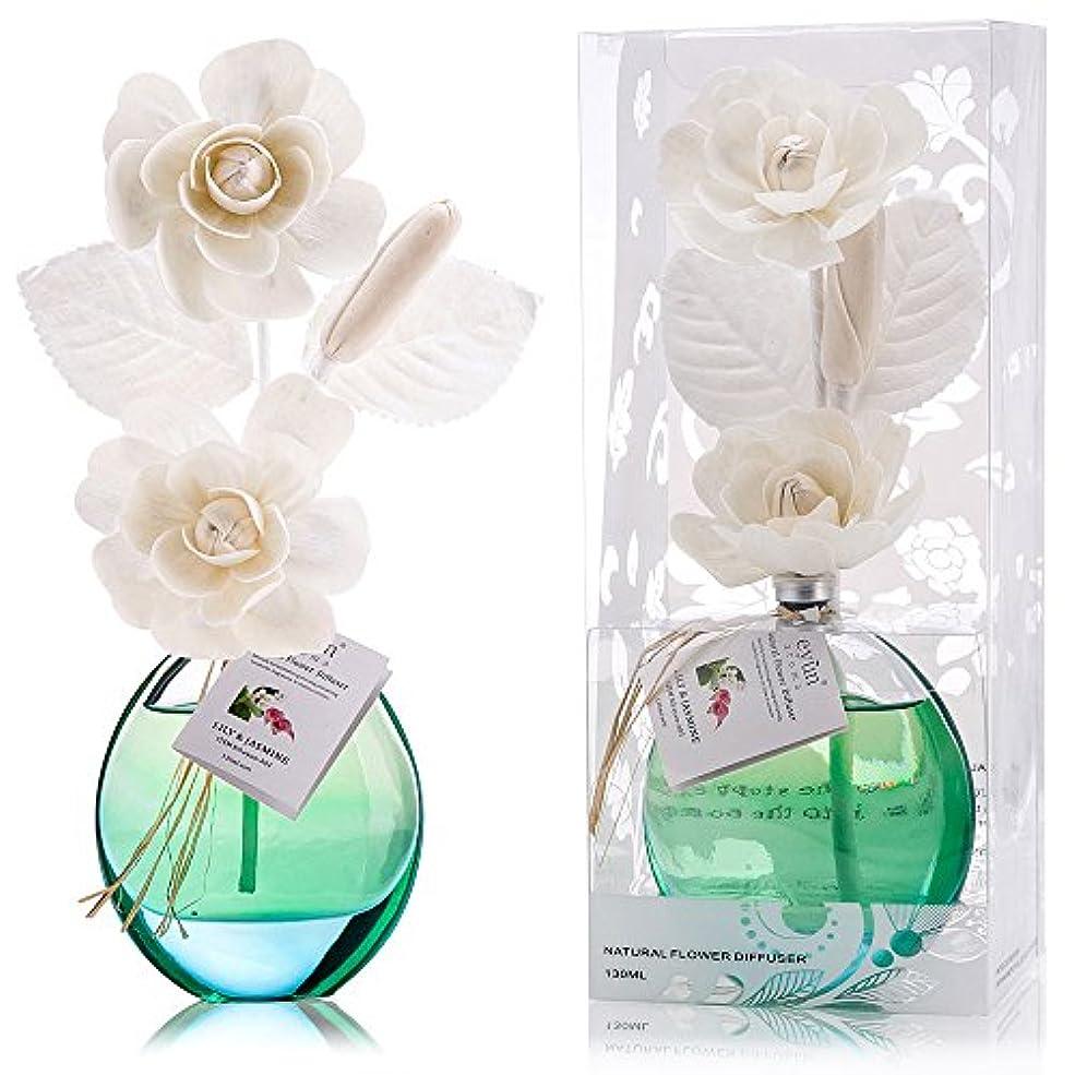 高層ビルインスタンス不正直誕生日 プレゼント に A03 ルームフレグランス (花瓶:水色, 香り:ユリ & ジャスミン)