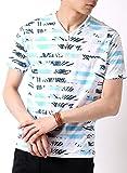 (アーケード) ARCADE メンズ 夏 天竺 総柄 Vネック ボタニカル 花柄 ボーダー カモフラ 迷彩 リゾート 半袖 Tシャツ L Eサックス