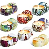 Scented Candles Gift Sets, Natural Soy Wax Aromatherapy Candles Portable Travel Tin Candles Women Gift with Fragrance Essenti