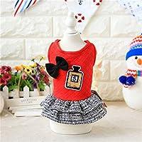 かわいいプリンセスボウネクタイ犬服ドレス犬猫服のマルタヨークシャーChiwawa秋冬17ZF87のための服:レッド、XS