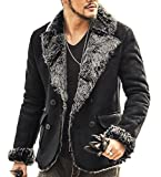 (クレオ ドナ)Creo dona メンズ ムートン コート ジャケット 高級感 冬コート モダン ワイルド 大人 (L, ブラック)