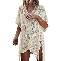 Women Cover-ups Swimwear Pure V-Neck Crochet Hollow-Out Tassels Cover Beach Bikini Swimsuit