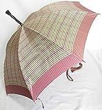 ステッキ傘 杖傘 傘杖 つえ傘 ステッキとしてご使用になれる「ステッキ傘(つえかさ)チック柄 手開き ピンク」