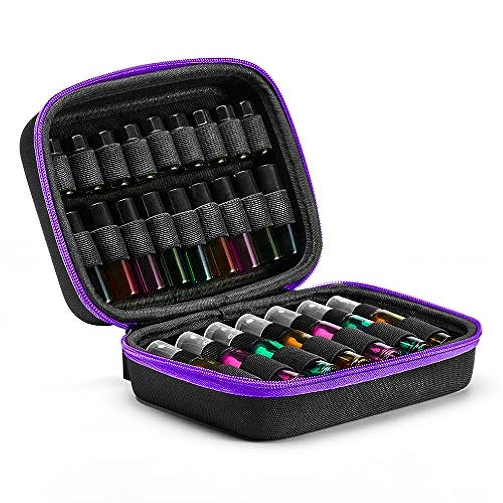 健康的なんでもピルエッセンシャルオイルボックス オイルスーツケースローラーボトルストレージ管理(上ハンドル)旅行のポータブルストレージボックスフレーム油 アロマセラピー収納ボックス (色 : 紫の, サイズ : 18X14X8CM)