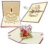 【 3枚セット 】 24 立体 ポップアップ カード グリーティングカード ケーキ お花 蝶 音楽 メロディ サックスホーン 誕生日 結婚式 お祝い No.24