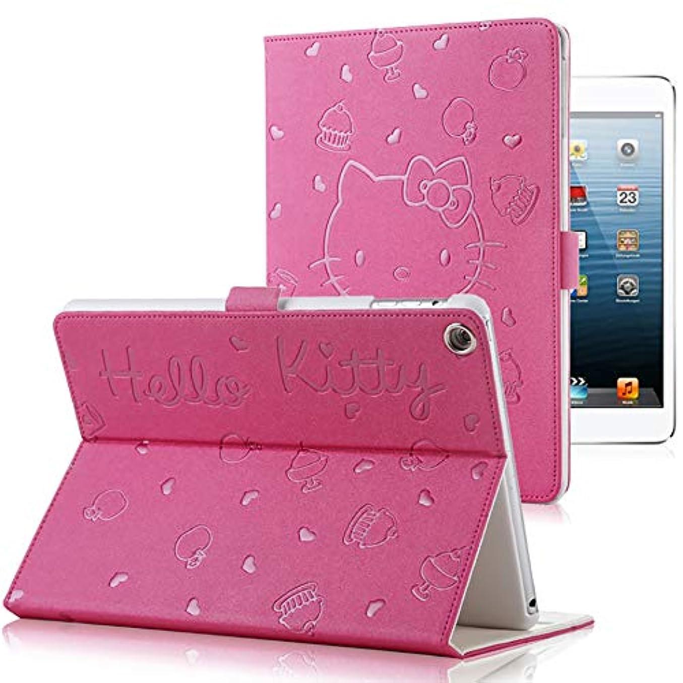 ランデブーグラム文献iPad mini 4 5 ケース、漫画ハローキティパターン磁気フォリオスタンドスマートカバー付き自動スリープ/ウェイク機能付き女性女の子子供 (iPad Mini 45, ローズレッド)