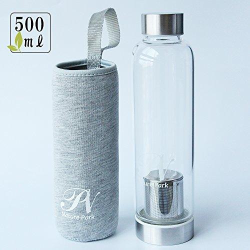 お茶の濃さをキープできる ティーボトル 茶こし 耐熱ガラス 携帯用 水筒 お茶 ボトル 耐熱ボトル 水筒 カバー付き マイボトル スポーツ ボトル 500ml (グレー)