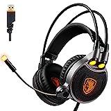 【正規品】 SADES 専門 振動機能 7.1バーチャルサラウンドサウンド 高集音性マイク USB接続 騒音抑制 ゲーミング ヘッドセット 眩しいLED&マイク&ステレオ ヘッドホン 付 ヘッドバンド