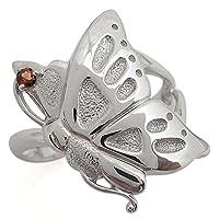 プレジュール K10ホワイトコーティング 指輪 ガーネットリング 蝶 バタフライリング リングサイズ15号