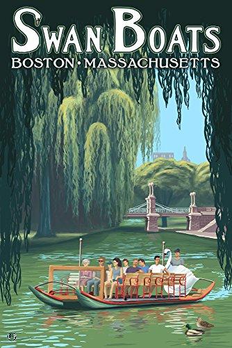 スワンボート–ボストン、MA ( 12x 18Collectibleアート印刷、壁装飾トラベルポスター)