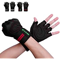 Innens Workout Gloves for Men and Women, Weight Lifting Gloves Gym Gloves with Built-in Wrist Wraps Support and Anti-Slip Palm, Perfect for Workout Exercise Training Fitness