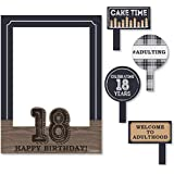 18th Milestone Birthday - Time To Adult - Birthday Party Photo Booth Picture Frame & Props - Printed on Sturdy Plastic Material