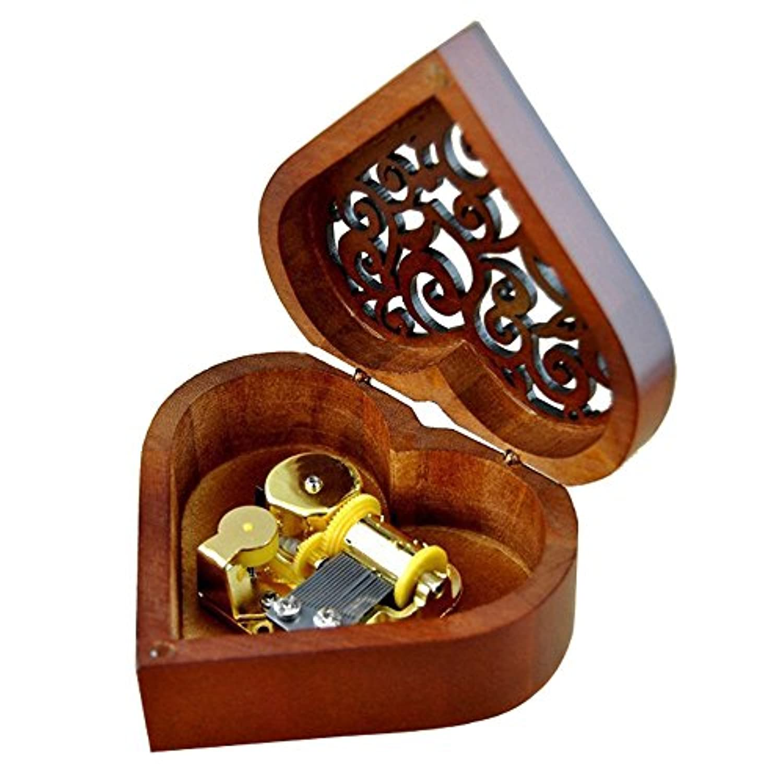 アンティーク刻印木製Wind - Up Musicalボックス、Fur Elise Musicalボックス Heart-shaped