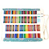 Damero 鉛筆ホルダー 72色 キャンバス 上下二段式 ゴムバンドで固定 芯先保護 消しゴム収納ポケット付き 学校/オフィス/アート/クラフ用(鉛筆が含まれていない)梅の花
