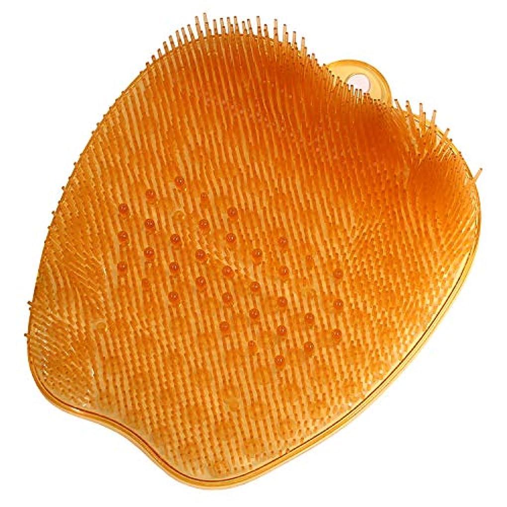 刺繍把握苗足洗いマット足洗い用 バスマット フットブラシ 足裏あらいマット 浴室 汚れ角質除去 ストレス解消 オレンジ 26*24*4cm